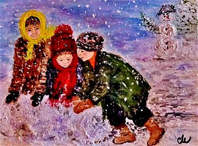 Poster featuring the painting Let It Snow..let It Snow..  by Cristina Mihailescu