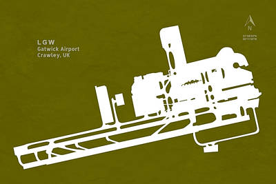 Lgw Gatwick Airport In Crawley United Kingdom Runway Silhouette Poster by Jurq Studio