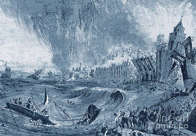Lisbon Tsunami, 1755 Poster by Science Source