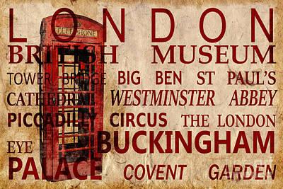 London Vintage Poster Red Poster