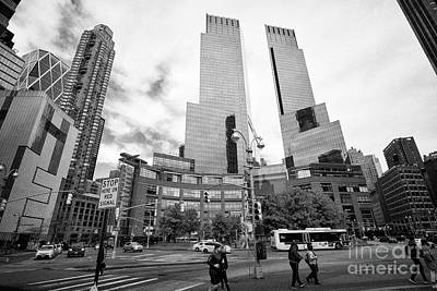 looking along central park south towards columbus circle and the time warner center New York City US Poster