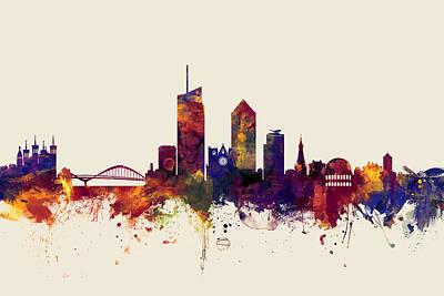 Lyon France Skyline Poster by Michael Tompsett