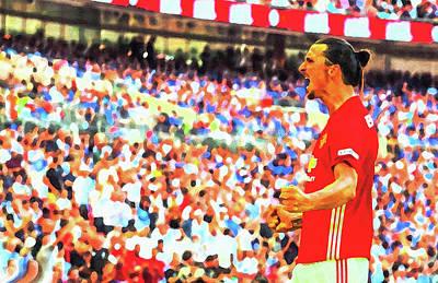 Manchester United's Zlatan Ibrahimovic Celebrates Poster