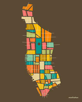 Manhattan Map Poster by Jazzberry Blue
