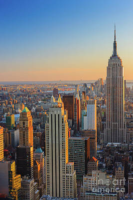Manhattan View At Sunset Poster by Henk Meijer Photography