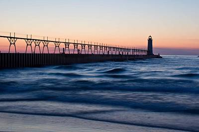 Manistee Michigan Lighthouse And Pier Poster by Twenty Two North Photography