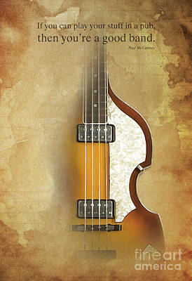Mccartney Hofner Bass, Vintage Background, Gift For Musicians, Inspirational Quote Poster by Pablo Franchi