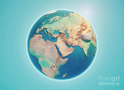 Middle East 3d Render Planet Earth Poster