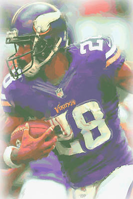 Minnesota Vikings Adrian Peterson Poster by Joe Hamilton