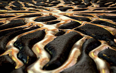 Molten Gold Seeping Out Of Rock Poster by Allan Swart