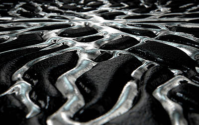 Molten Silver Seeping Out Of Rock Poster