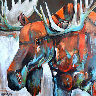 Poster featuring the painting Moose by Cher Devereaux