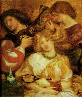 Morning Music Poster by Dante Gabriel Rossetti