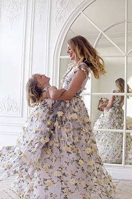 Mother And Daughter Dancing In The Mirror Poster