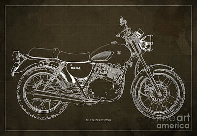 Motorcycle Suzuki Tu250x 2013 Blueprint, Poster For Men Cave Poster by Pablo Franchi