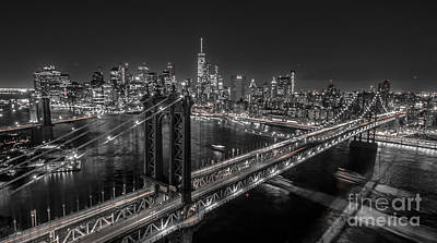 New York City, Manhattan Bridge At Night Poster