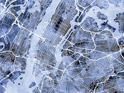 New York City Street Map Poster by Michael Tompsett