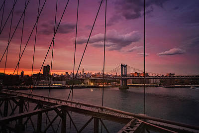 New York City - Sunset Poster by Vivienne Gucwa