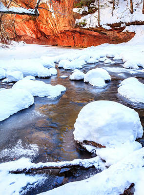 Oak Creek In Winter Poster