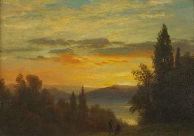 On The Hudson River Near Irvington Poster by Albert Bierstadt