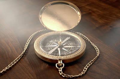 Ornate Pocket Compass Poster
