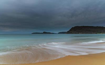 Overcast Cloudy Sunrise Seascape Poster