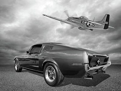 p51 With Bullitt Mustang Poster by Gill Billington