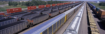 Panoramic View Of Freight Cars At Union Poster by Panoramic Images