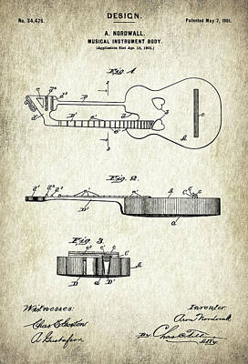 Patent Drawing For The 1901 Musical Instrument Guitar Body By A. Nordwall Poster by Jose Elias - Sofia Pereira