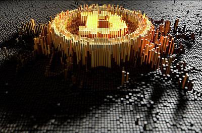 Pixel Bitcoin Concept Poster by Allan Swart