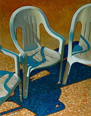 Plastic Patio Chairs Poster by Doug Strickland
