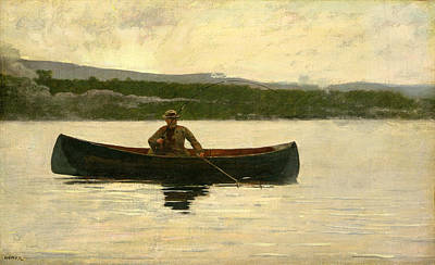 Poster featuring the painting Playing A Fish by Winslow Homer