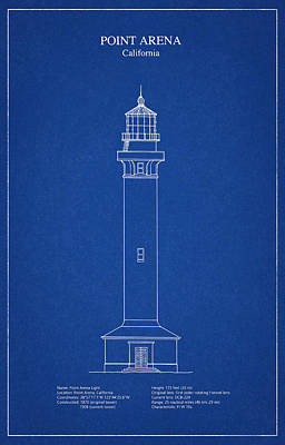 Point Arena Lighthouse - California - Blueprint Drawing Poster