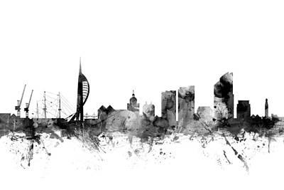 Portsmouth England Skyline Poster by Michael Tompsett