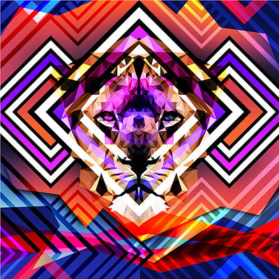 Psychedelic Lion Poster by Gallini Design