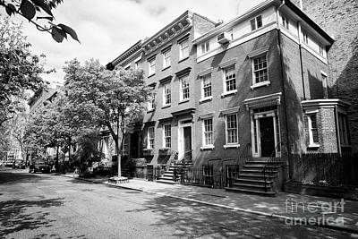 red brick townhouses with basement flats greenwich village New York City USA Poster