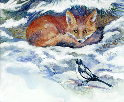 Red Fox With Magpie Poster by Peggy Wilson
