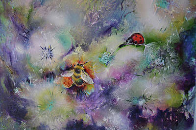 Rendezvous, Ladybug And Bumble-bee On Dandelions  Poster by Soos Roxana Gabriela