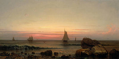 Sailing Off The Coast Poster by Martin Johnson Heade