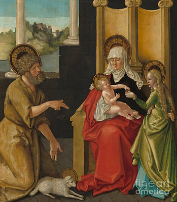 Saint Anne With The Christ Child, The Virgin, And Saint John The Baptist Poster