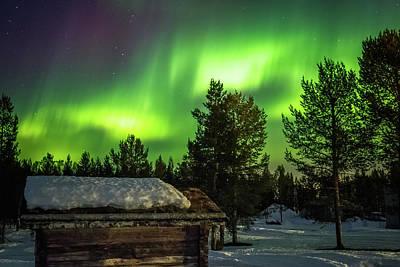 Sapmi Hut Under The Northern Lights Karasjok Norway Poster