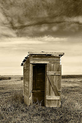 School Outhouse Toilet Poster by Donald  Erickson