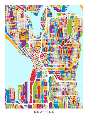 Seattle Washington Street Map Poster by Michael Tompsett