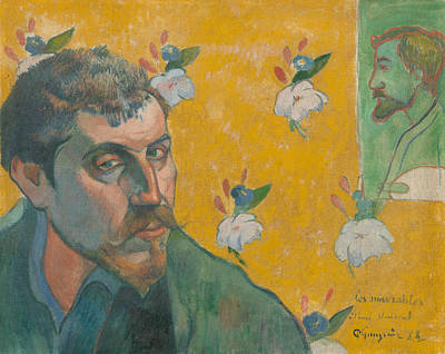 Self Portrait With Portrait Of Bernard Poster by Paul Gauguin