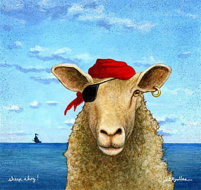 Poster featuring the painting Sheep Ahoy by Will Bullas