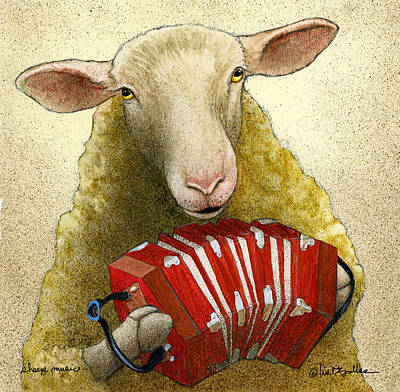 Poster featuring the painting Sheep Music... by Will Bullas