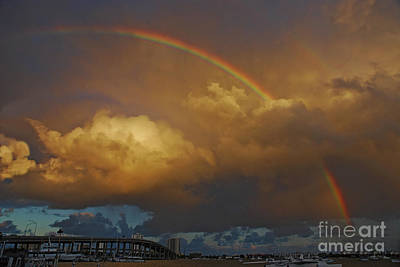 Poster featuring the photograph 2- Singer Island Stormbow by Rainbows