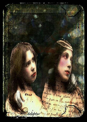 Poster featuring the digital art Two Sisters by Delight Worthyn