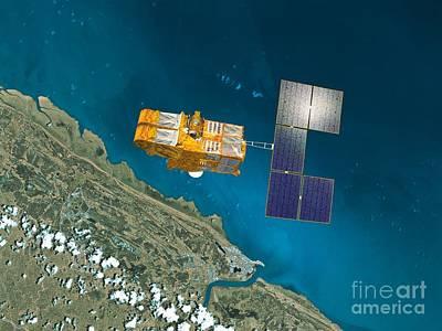 Spot 4 Satellite, Artwork Poster by David Ducros