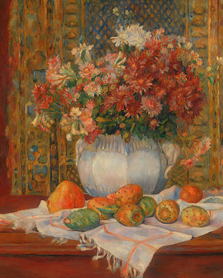 Still Life With Flowers And Prickly Pears Poster by Auguste Renoir